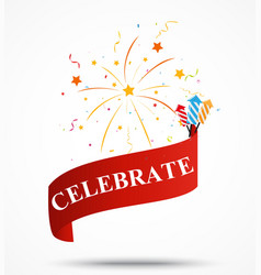 Celebration ribbon with fireworks vector
