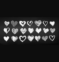 chalk drawn heart collection vector image