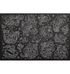 Chalkboard hand drawn Doodle set of New vector