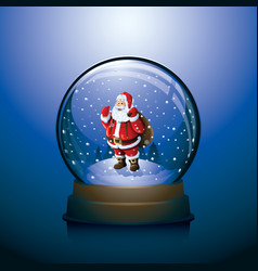 Christmas snow globe with santa claus inside vector