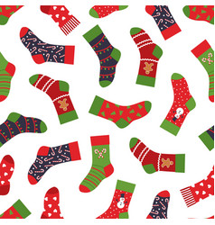 christmas socks pattern seamless texture with vector image