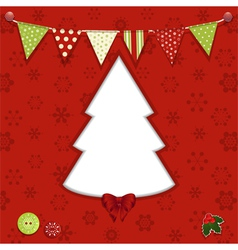 Christmas tree and bunting background vector image vector image