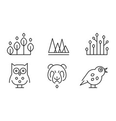 collection of plants birds and animals head vector image
