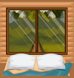 Colorful background interior wooden cabin with bed vector