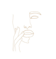 continuous line drawing woman face with hand vector image