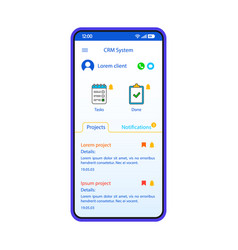 crm system smartphone interface template vector image