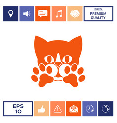 cute cat paws - logo symbol protect sign vector image