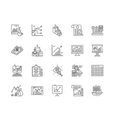 data concept line icons signs set vector image