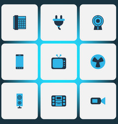 Device icons colored set with plug smartphone vector