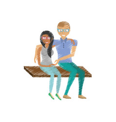 drawing fun couple sitting romantic vector image