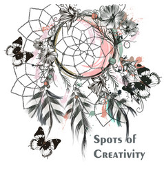 dreamcatcher and butterflies symbol creativity vector image