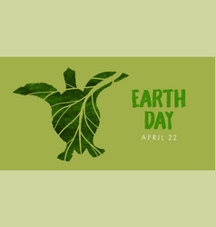 earth day green leaf sea turtle watercolor banner vector image