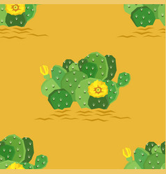 Eastern prickly pear cactus with yellow vector