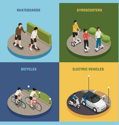 Eco transportation 2x2 design concept vector