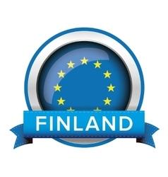 Eu flag button with finland ribbon vector