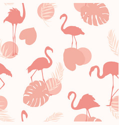 exotic pink flamingo birds tropical leaves shapes vector image
