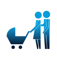 family couple with baby cart silhouette avatars vector image