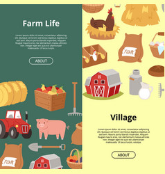 farm life and village organic farming and vector image