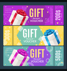 Gift voucher card set template monetary value vector