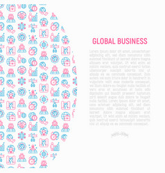global business concept with thin line icons vector image