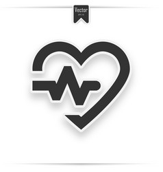 gray heart icon with sign heartbeat vector image