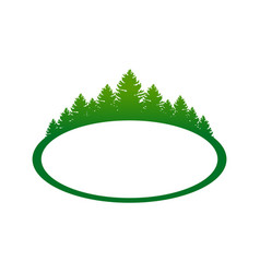 Green forest landscape oval shape symbol design vector