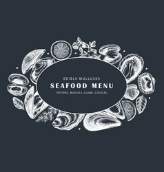 hand drawn edible marine mollusks vector image