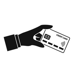 Hand nfc credit card icon simple style vector