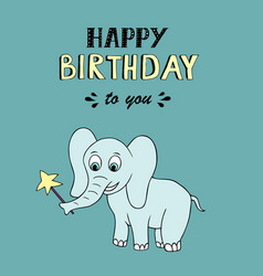 Happy birthday lettering party with baby elephant vector