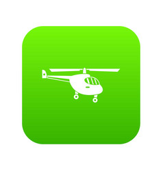 Helicopter icon digital green vector
