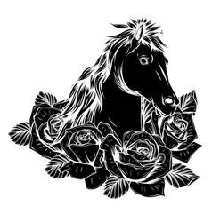 horse negative icon logo design vector image