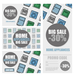 household appliances discount season sale banner vector image