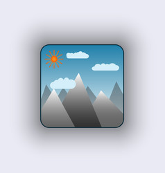 icon with sun in mountains vector image