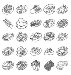Indonesian food set icon doodle hand drawn vector