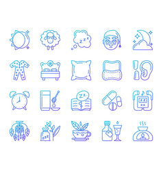 Insomnia simple color line icons set vector
