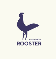 logotype with silhouette rooster or cock logo vector image