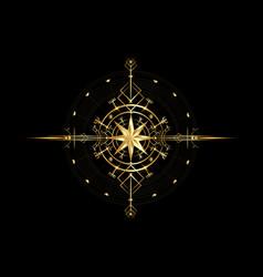 magic ancient viking gold wind rose navigation vector image
