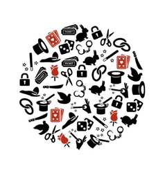 Magician icons in circle vector