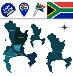 Map cape town with subdistricts vector