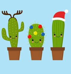 merry christmas card cactus in a christmas hat vector image