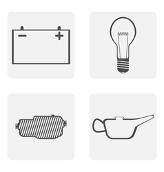 Monochrome icons with road symbols vector image