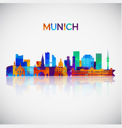 munich skyline silhouette in colorful geometric vector image