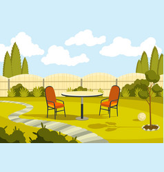patio area with cartoon table and chairs sunny vector image