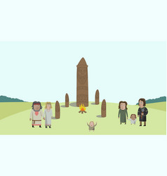 people in national dress on field with pagan idols vector image