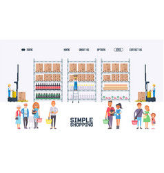 People in supermarket grocery store website vector