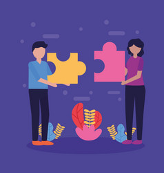 people teamwork flat design image vector image