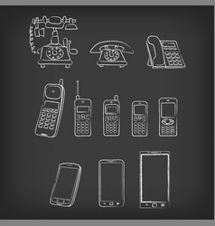 Phone evolution hand-drawn vector