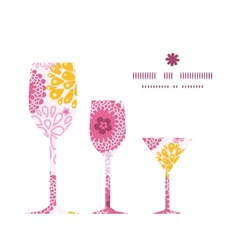 Pink field flowers three wine glasses silhouettes vector