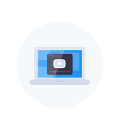 play video player window on laptop screen icon vector image