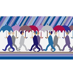 rain and people with umbrellas vector image